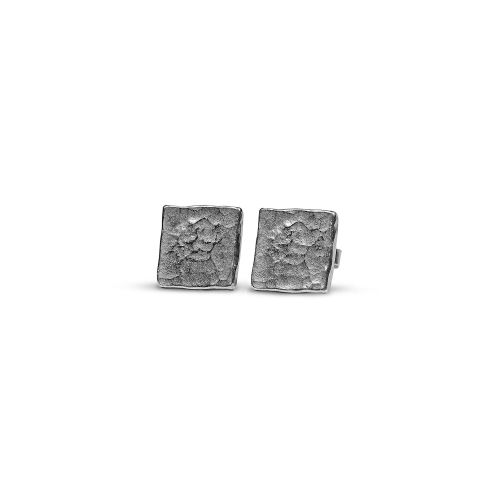 Hammered square stud earings