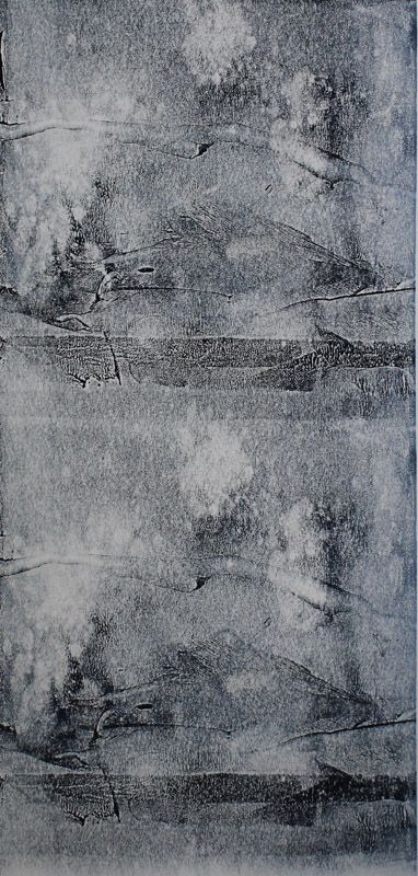 Echo #1 - Monoprint on off-white Japanese paper (image 430 x 200 mm on a2 paper)