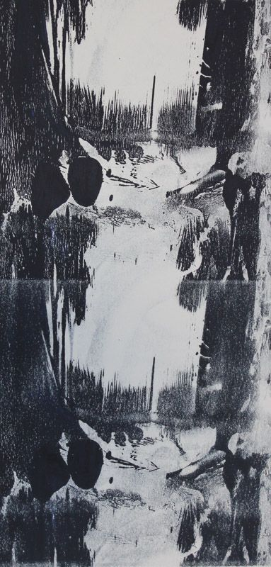 Echo #11 - Monoprint on off-white Japanese paper (image 430 x 200 mm on a2 paper)