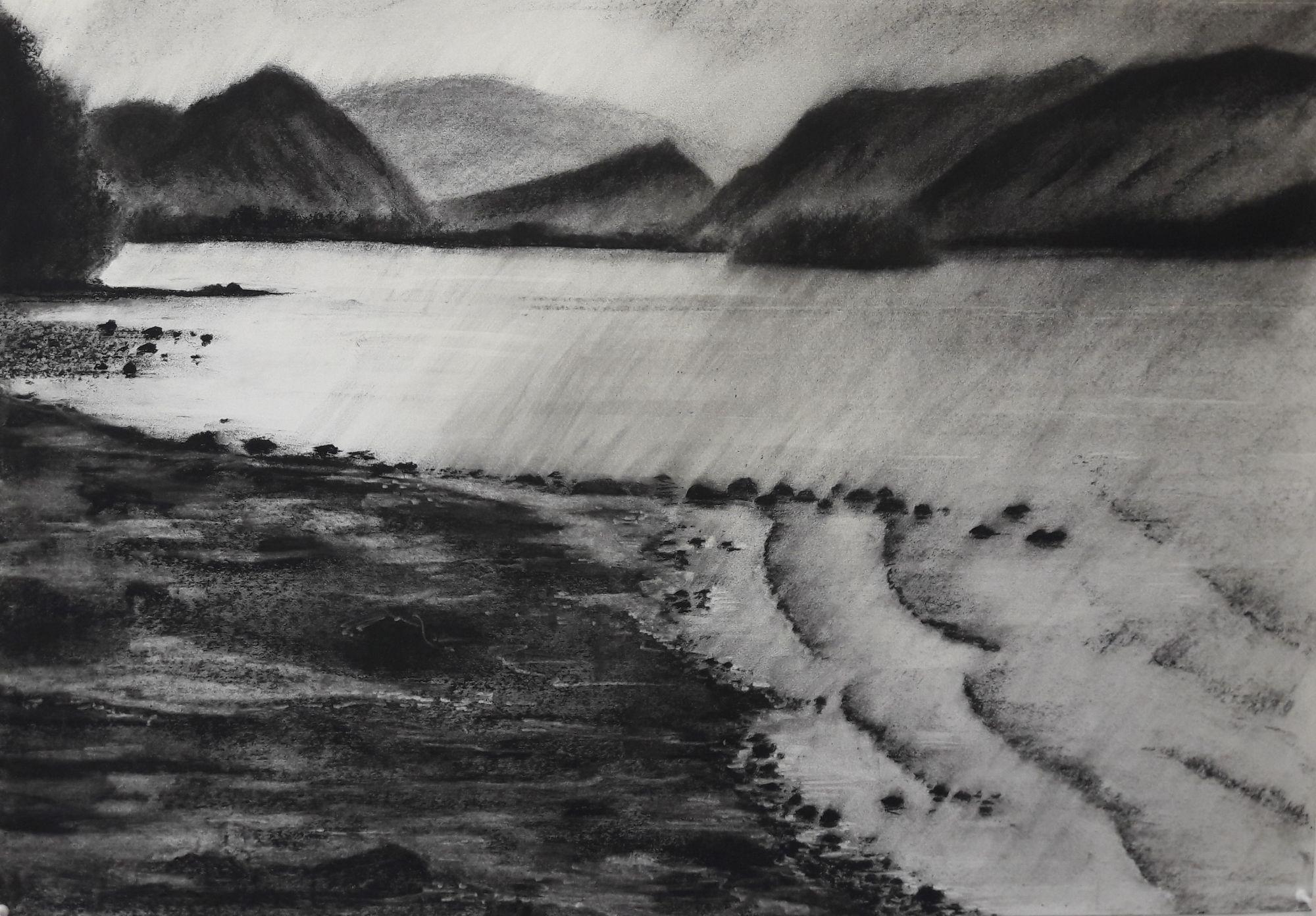 Derwentwater #1 - Charcoal on Surrey cartridge paper (594 x 841 mm)