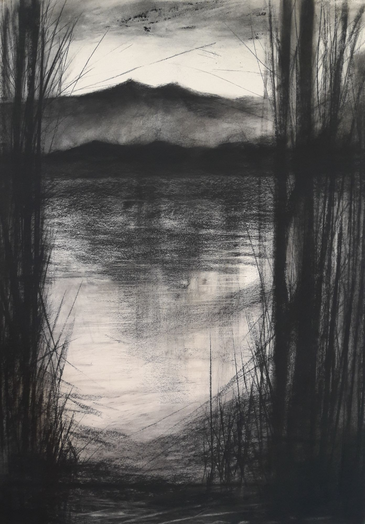 Rydal Water #2 - Charcoal on cartridge paper (594 X 841 MM)