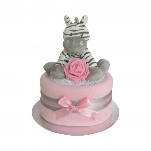 Zebra Girls Large Nappy Cake