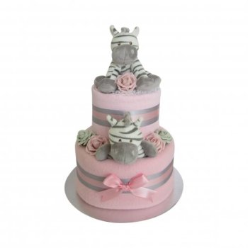 Baby Girl Zebra Two Tier Nappy Cake