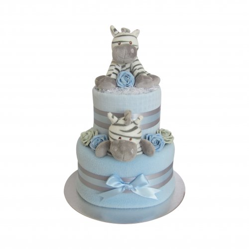 Zebra Two Tier Baby Boy Nappy Cake