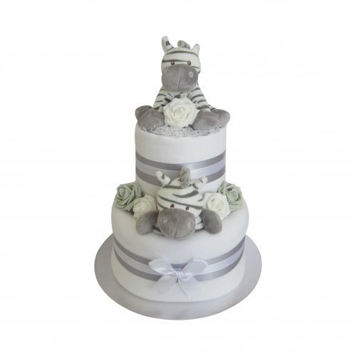 Zebra Unisex Two Tier Nappy Cake