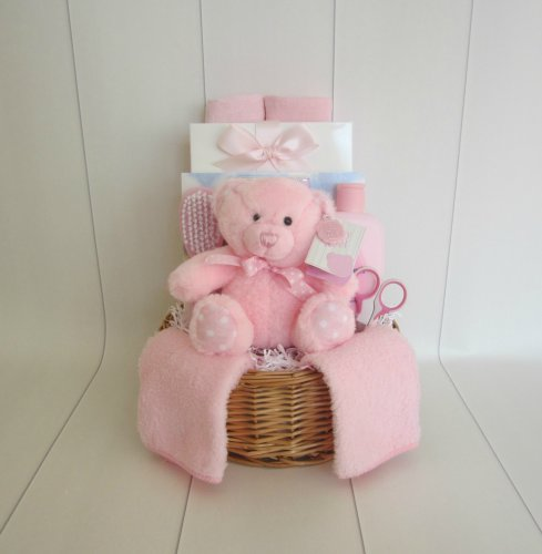 Baby Girl Teddy Basket