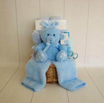 Baby Boy Teddy Basket