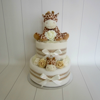 Giraffe Two Tier Unisex Nappy Cake