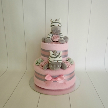 Zebra Two Tier Baby Girl Nappy Cake