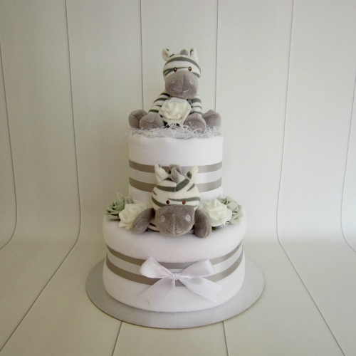 Zebra Two Tier Unisex Nappy Cake