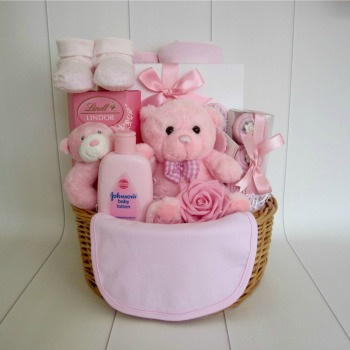 Teddy Baby Girl Gift Basket