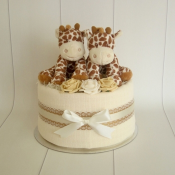 Twin Unisex Giraffe One Tier Nappy Cake
