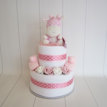 Baby Girl Giraffe Two Tier Nappy Cake