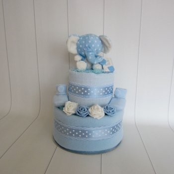 Baby Boy Elephant Two Tier Nappy Cake