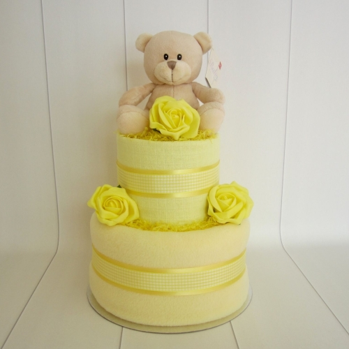 Teddy Unisex Two Tier Nappy Cake