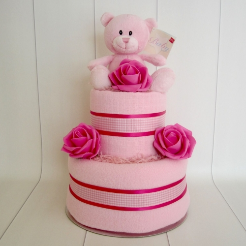 Teddy Baby Girl Two Tier Nappy Cake