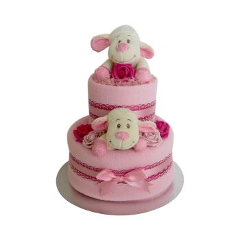 Lamb Two Tier Baby Girl Nappy Cake