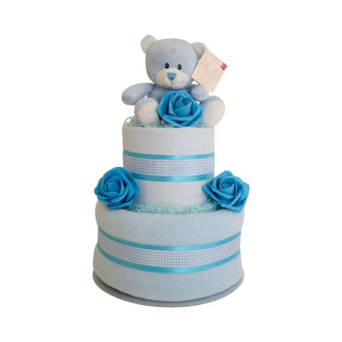 Teddy Baby Boy Two Tier-Nappy Cake