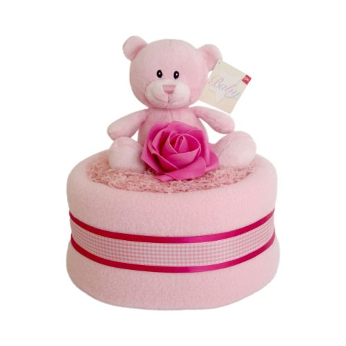Teddy Baby Girl Nappy Cake