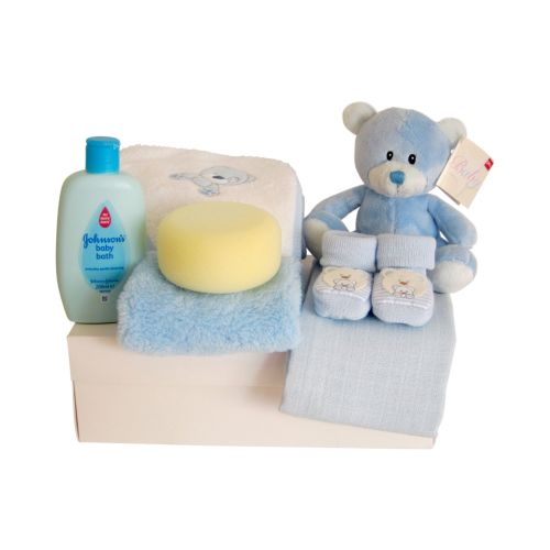 New Baby Boy Teddy Hamper Gift Set