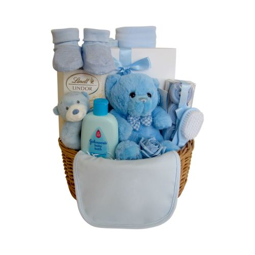 Teddy Bear Baby Boy Gift Basket