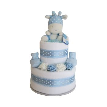 Baby Boy Giraffe Two Tier Nappy Cake