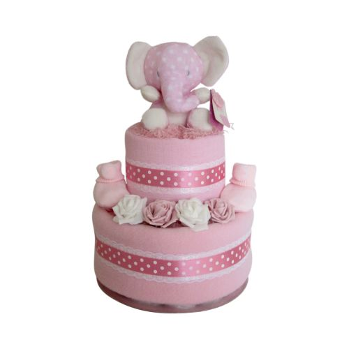 Baby Girl Elephant Two Tier Nappy Cake