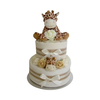 Deluxe Giraffe Two Tier Unisex Nappy Cake
