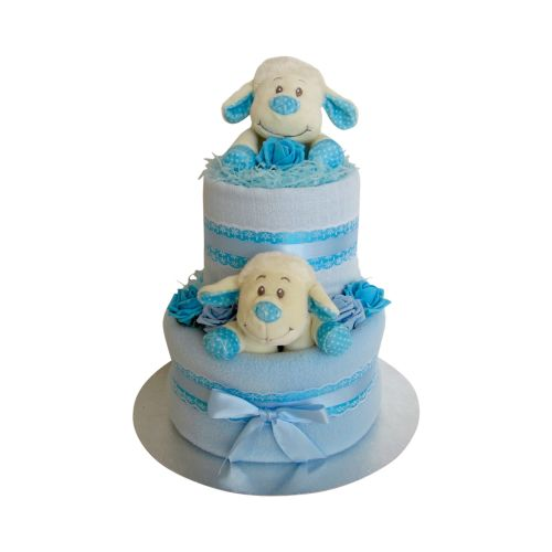 Lamb Two Tier Baby Boy Nappy Cake