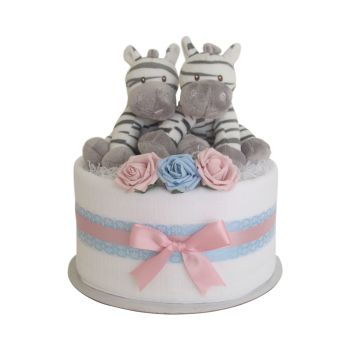 Twin Boy And Girl Zebra Nappy Cake