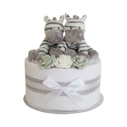 Twin Unisex Zebra One Tier Nappy Cake