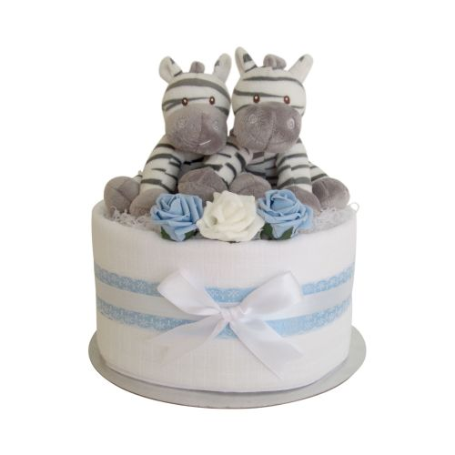 Twin Boys Zebra One Tier Nappy Cake