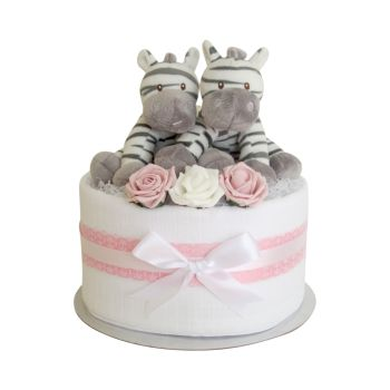 Twin Girls Zebra Nappy Cake