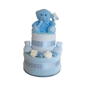 Spotty Teddy Baby Boy Two Tier Nappy Cake