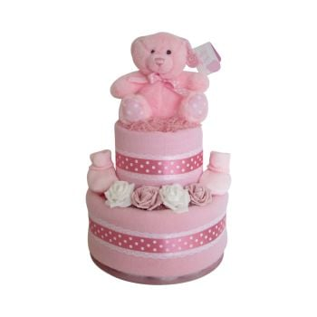 Spotty Teddy Baby Girl Two Tier Nappy Cake