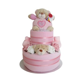 Baby Girl Two Tier Nappy Cake