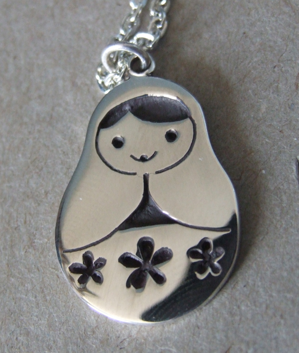 Silver Russian Doll Necklace