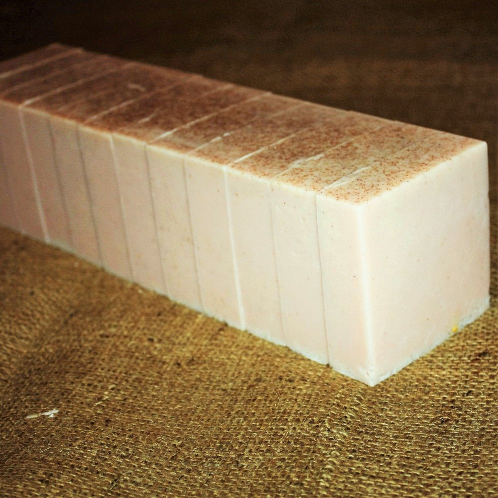 Crushed Peach Stone Soap Loaf