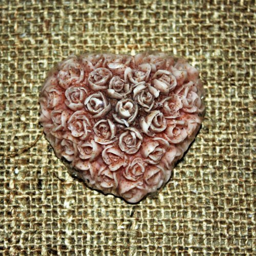 Luxury Crushed Peach Stone Heart