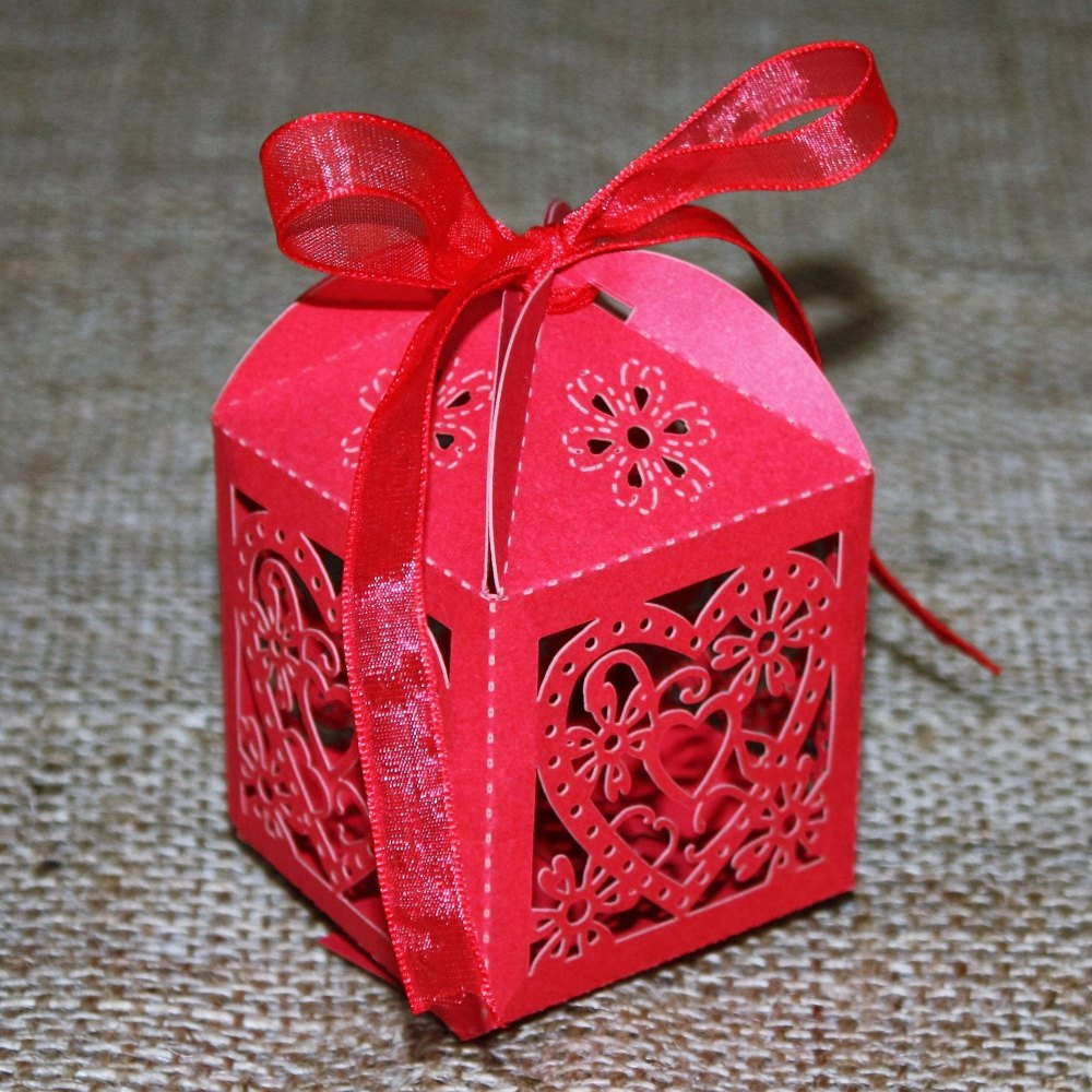 Red Love Heart Favour Box
