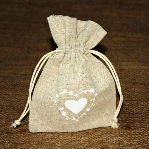 Rustic Heart Print Hessian Bag