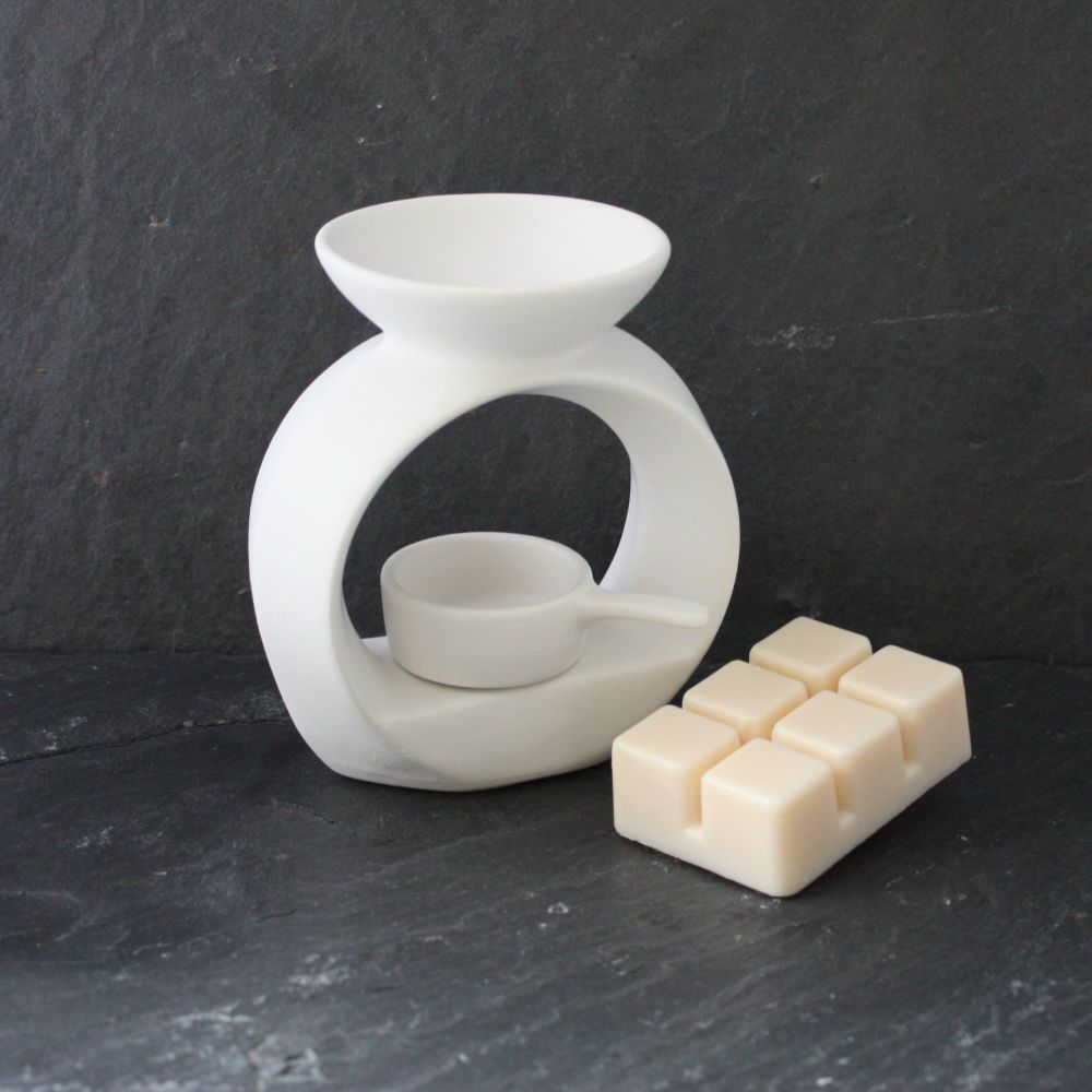 White Circular Wax Melter with Tealight Pan (small)