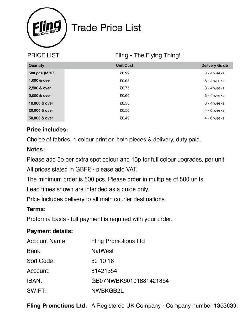 Fling Promotions Ltd Price List 2019 (TRADE)