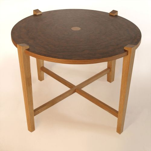 Burr elm and oak table