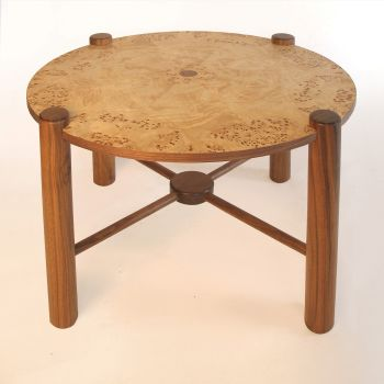 Burr poplar and walnut table