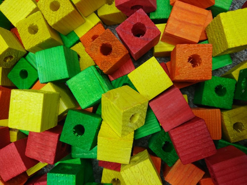 Coloured Pine Cubes - 10 pack  - small pet toys