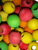 Coloured Pine Big Beads - Pack of 10