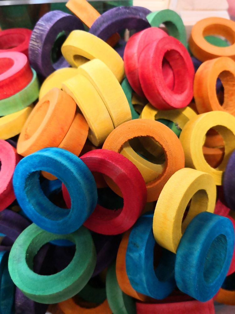 Coloured Pine Fat Rings 5pack