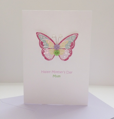 Mother's Day Mum card - Pink & lilac button butterfly A6