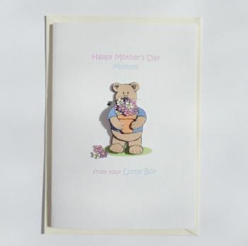 Mother's Day Mummy Card from your little boy Flowerpot Bear A6